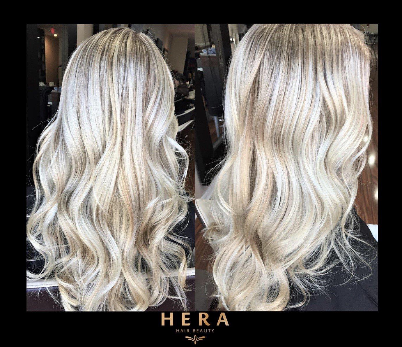 platinum blonde balayage highlights