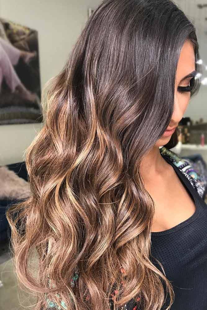 brunette-hair-ideas-wavy-sleek-brown-balayage