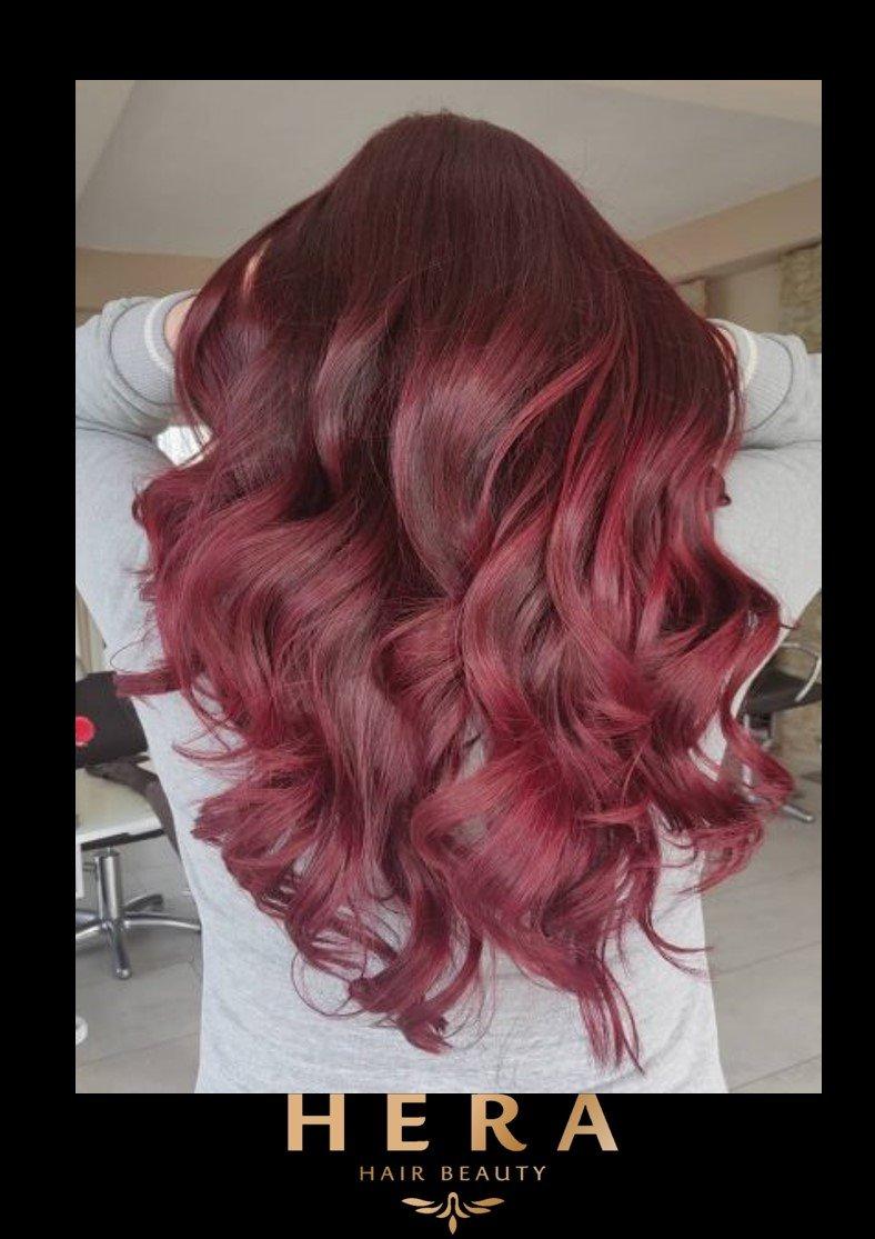 GLOSSY BURGUNDY RED HAIR
