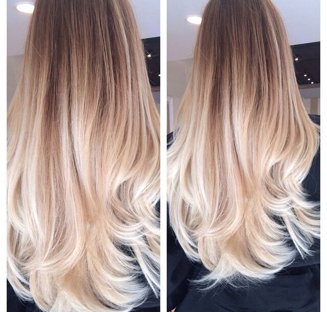 Beautiful Platinum Blonde Ombre Style