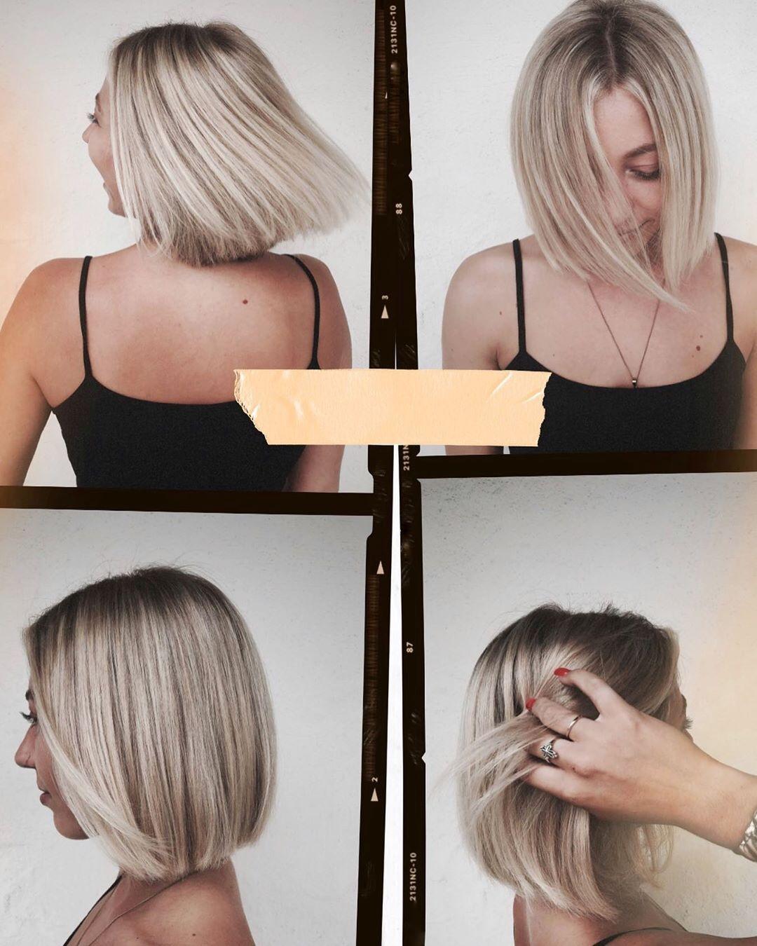 Sleek blunt long bob haircut