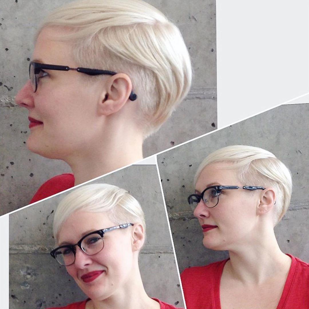 women Pixel haircut with undercut