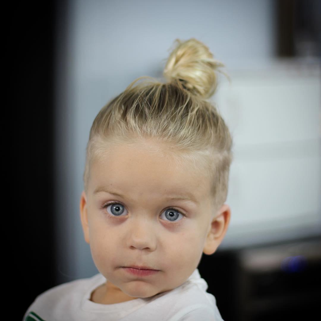 9. Bun Hairstyle for Little Boys