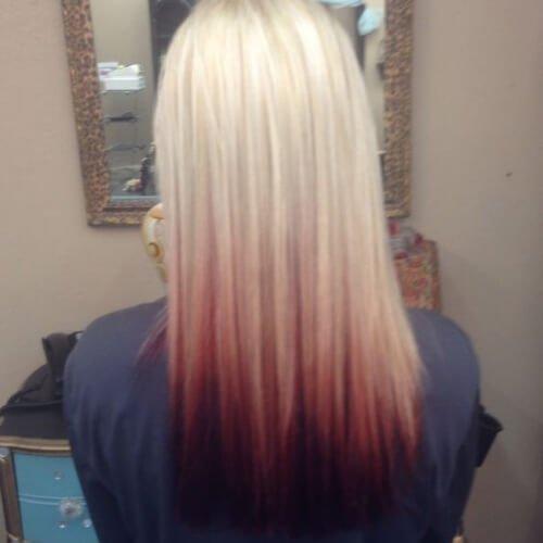 blonde dark red reverse ombre hair