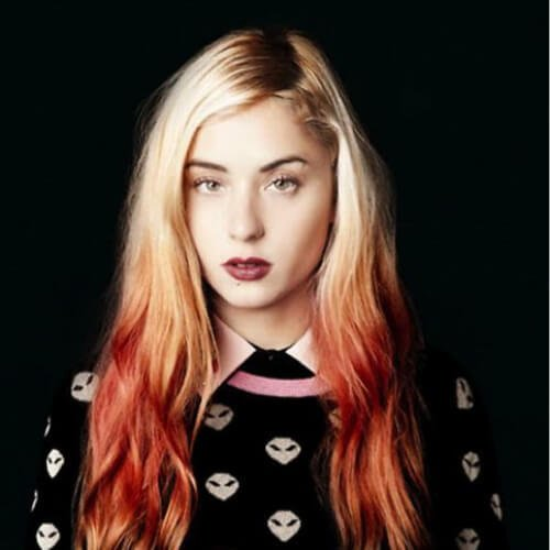 blonde hair with red ombre reverse ombre hair