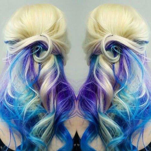 Blonde purple blue reverse ombre hair