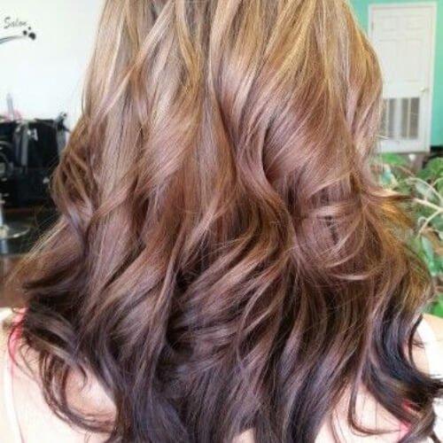 cinnamon reverse ombre hair