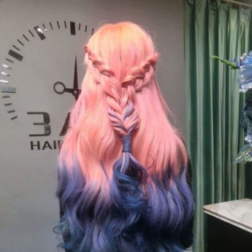 pink purple reverse ombre hair