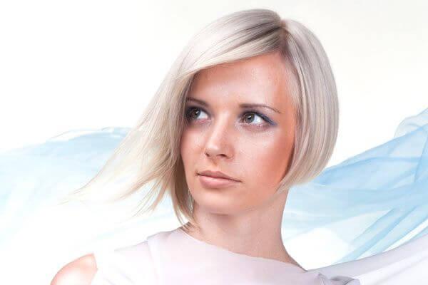 platinum blonde asymmetrical haircut